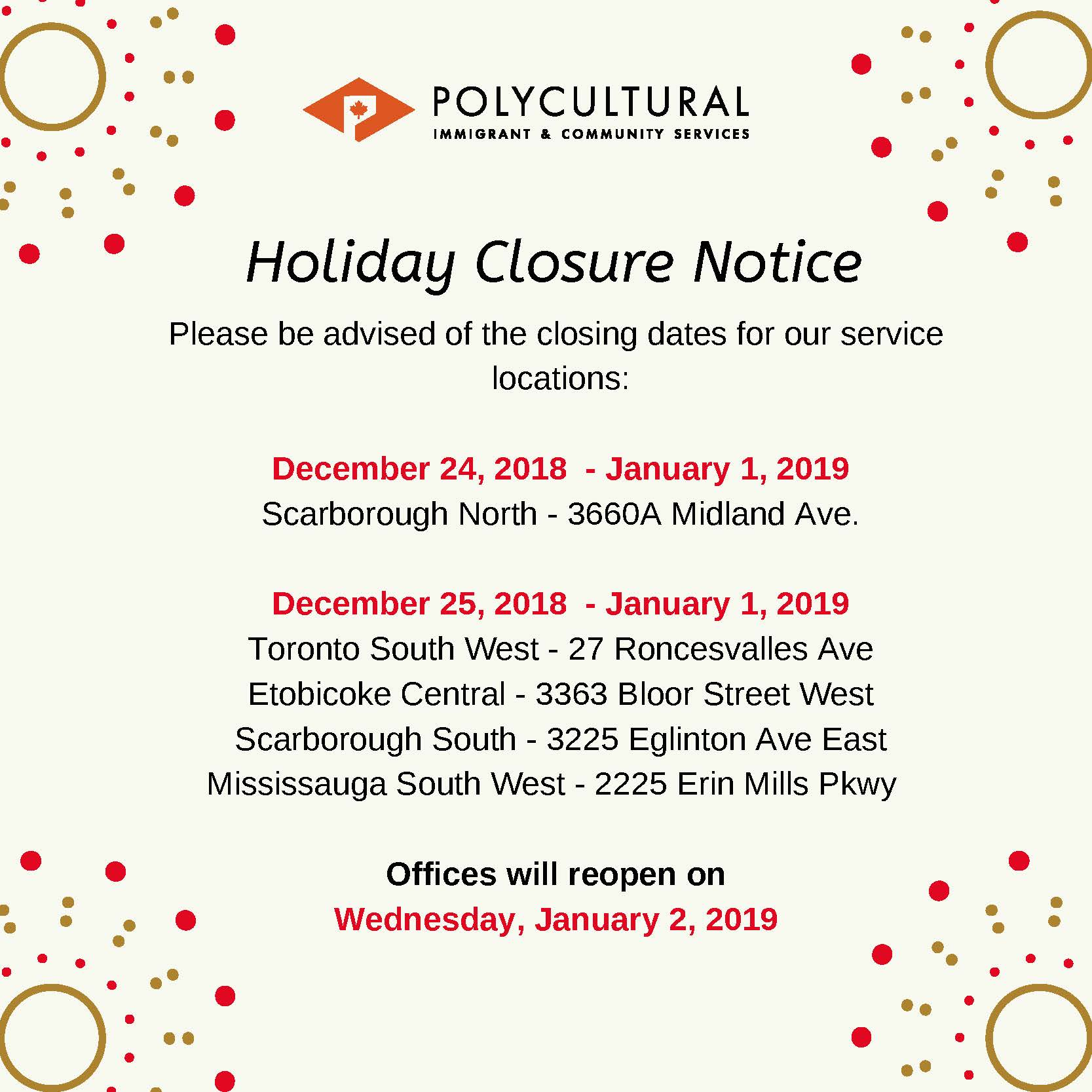 Holiday Closure Notice Dec 2018